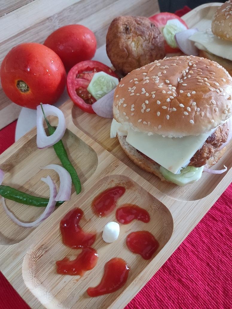 Pumpkin Aloo Tikki Burger | How to make Pumpkin Tikki