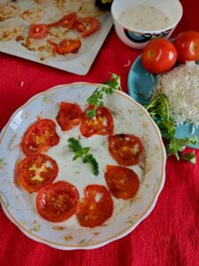 Curd with baked Tomato