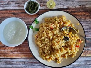 Healthy Veg Brown Rice Pulao is a simple recipe of Rice with variety of vegetables cooked in pressure cooker for low-calorie and weight-loss diet