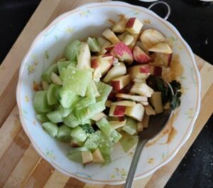 salad mixed with peanut butter