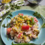 Mashed potatoes moong lentil salad