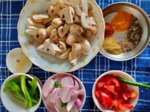 chopped veggies for mushroom masala