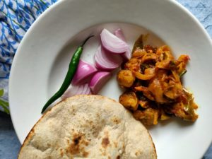 mushroom dry masala with chapati